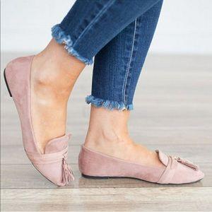 Blush tassel loafers